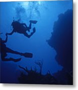 Couple Of Divers Holding Hands Metal Print