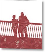 Couple On Bridge Metal Print