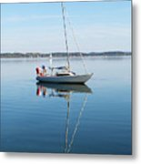 Couple Prepare Sailing Boat In Chiemsee Lake In Germany Metal Print