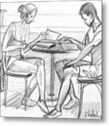 Couple Reading Black And White Metal Print