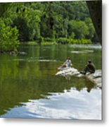 Couple Relaxing By The Shenandoah River At Harpers Ferry Metal Print