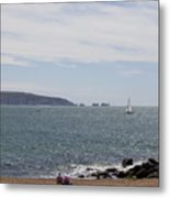 Couple Relaxing  Enjoying The View Metal Print