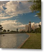 Couple Rowing In Chicago Metal Print