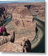 Couple Viewing Horseshoe Bend High Up Edge  Metal Print