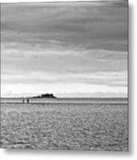 Couple Walking On A Sandbank Metal Print