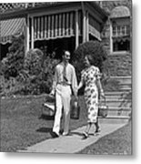 Couple Walking Out Of House, C.1930s Metal Print