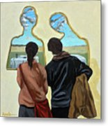Couple With Their Heads Full Of Clouds Metal Print
