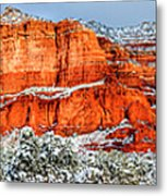 Courthouse Butte And Bell Rock Under Snow Metal Print