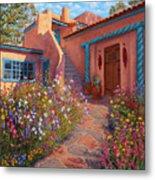 Courtyard Garden In Taos Metal Print