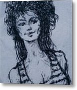 Cove Girl With Striped Shirt Metal Print