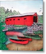 Covered Bridge And Canoes Metal Print