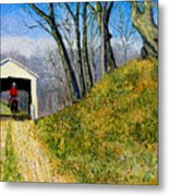 Covered Bridge And Cowboy Metal Print