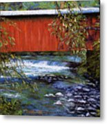 Covered Bridge And  Wissahickon Creek Metal Print by Joyce A Guariglia
