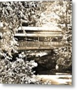 Covered Bridge At Lanterman's Mill Black And White Metal Print
