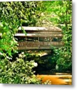 Covered Bridge At Lanterman's Mill Metal Print