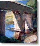 Covered Bridge At Low Water Metal Print