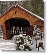 Covered Bridge At Olmsted Falls-winter-2 Metal Print