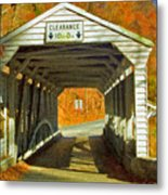 Covered Bridge Impasto Oil Metal Print