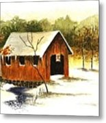 Covered Bridge In The Snow Metal Print