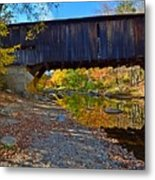 Covered Bridge Over The Cold River Metal Print