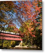 Covered Bridge Over The Swift River In Conway Metal Print