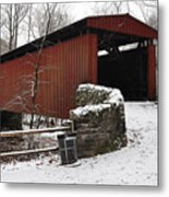 Covered Bridge Over The Wissahickon Creek Metal Print by Bill Cannon