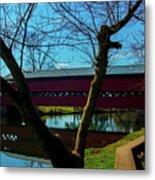 Covered Bridge Vivid Afternoon Metal Print