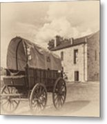 Covered Wagon And Stone Building Sepia Metal Print