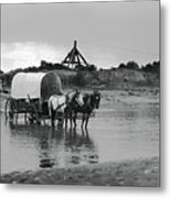 Covered Wagon River Ford And Cable Ferry 1903 Metal Print