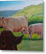 Cow And Calf Painting Metal Print