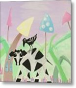 Cow And Crow In The Land Of Mushrooms Metal Print