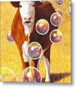 Cow Bubbles Metal Print