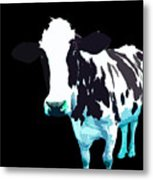 Cow In A Black World Metal Print