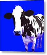 Cow In A Blue World Metal Print
