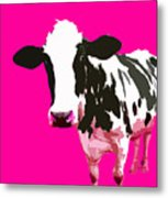 Cow In A Pink World Metal Print