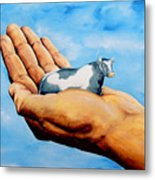 Cow In Hand Metal Print