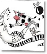 Cow Jumps Over The Moon Metal Print