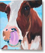 Cow Picking His Nose Metal Print