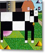 Cow Squared With Barn Left Metal Print