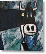 Cow With A Pearl Earring Metal Print