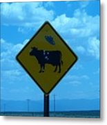 Cow With Flying Saucer Metal Print