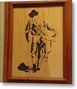 Cowboy And Saddle Metal Print