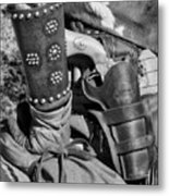 Cowboy And Six Shooter Bw Metal Print