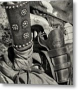 Cowboy And Six Shooter Bw Sepia Metal Print