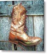 Cowboy Boot Rack Metal Print