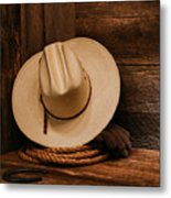 Cowboy Hat And Gear Metal Print