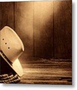 Cowboy Hat In The Old Barn Metal Print