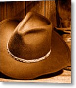 Cowboy Hat - Sepia Metal Print
