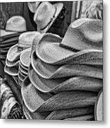 Cowboy Hats Black And White Metal Print