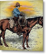 Cowboy N Sunset Metal Print